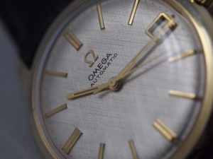 Omega Linen Dial Close-up